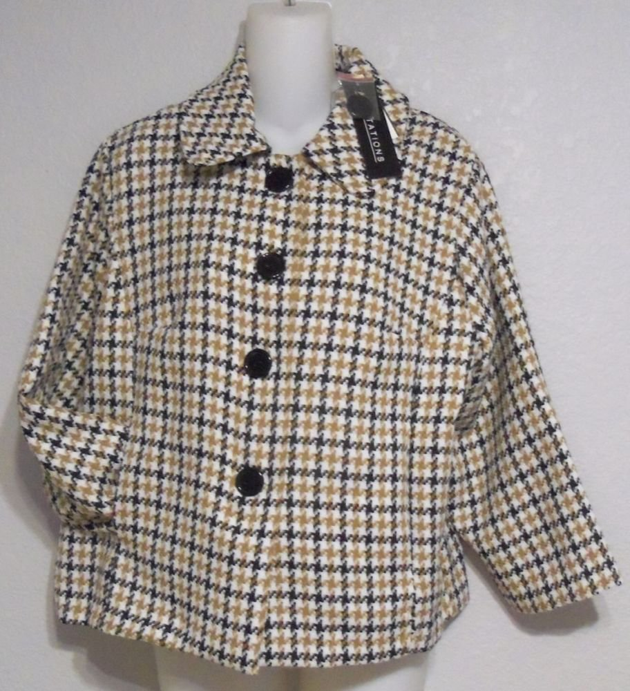 NEW Adaptations Large 12 14 Black White Tan Hounds Tooth Checked Retro Jacket
