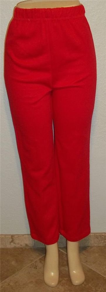 NEW Erika Petites PM 8P 10P Red Casual Cotton Blend Elastic Waist Pants