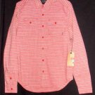 NEW Mens Small Rusty Faded Brick Red White LS Cotton Dress Casual Shirt