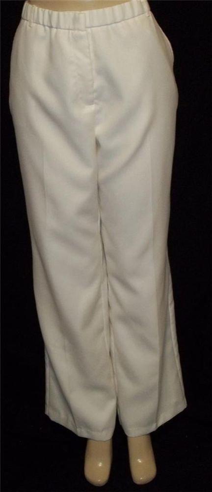 NEW Sag Harbor 12 Large Vanilla Off-White Lined Straight Leg Career Dress Pants