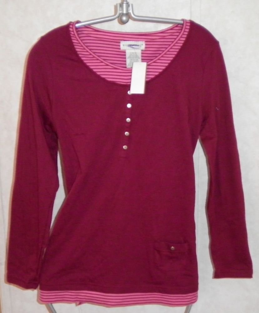NEW White Stag Burgundy Small 4 Long Sleeve Cotton Blend Knit Faux 2 Piece Top