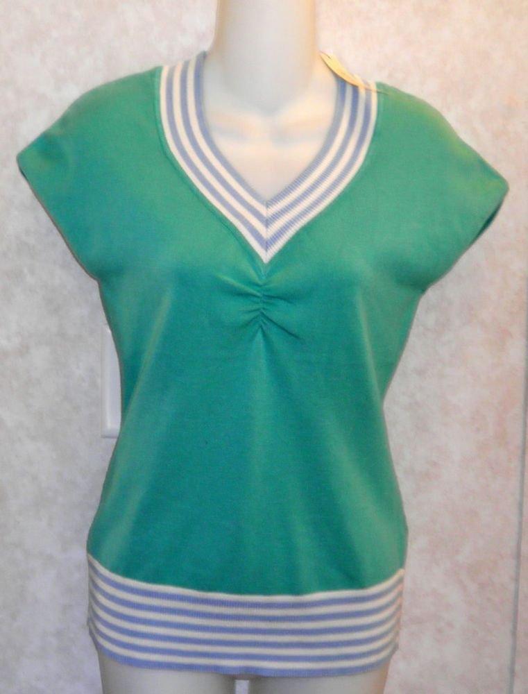 NEW Bogari Small 4 6 Aqua Teal Silk Blend Cap Sleeve Pullover Sweater