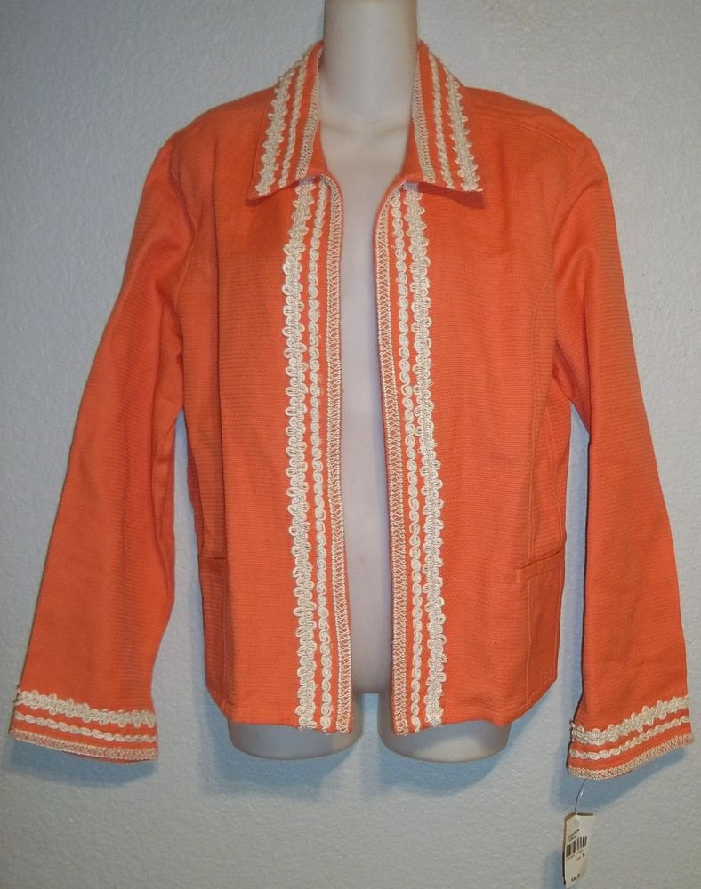 New Norton McNaughton XL 18 Coral White Open Front Embellished Cotton Jacket