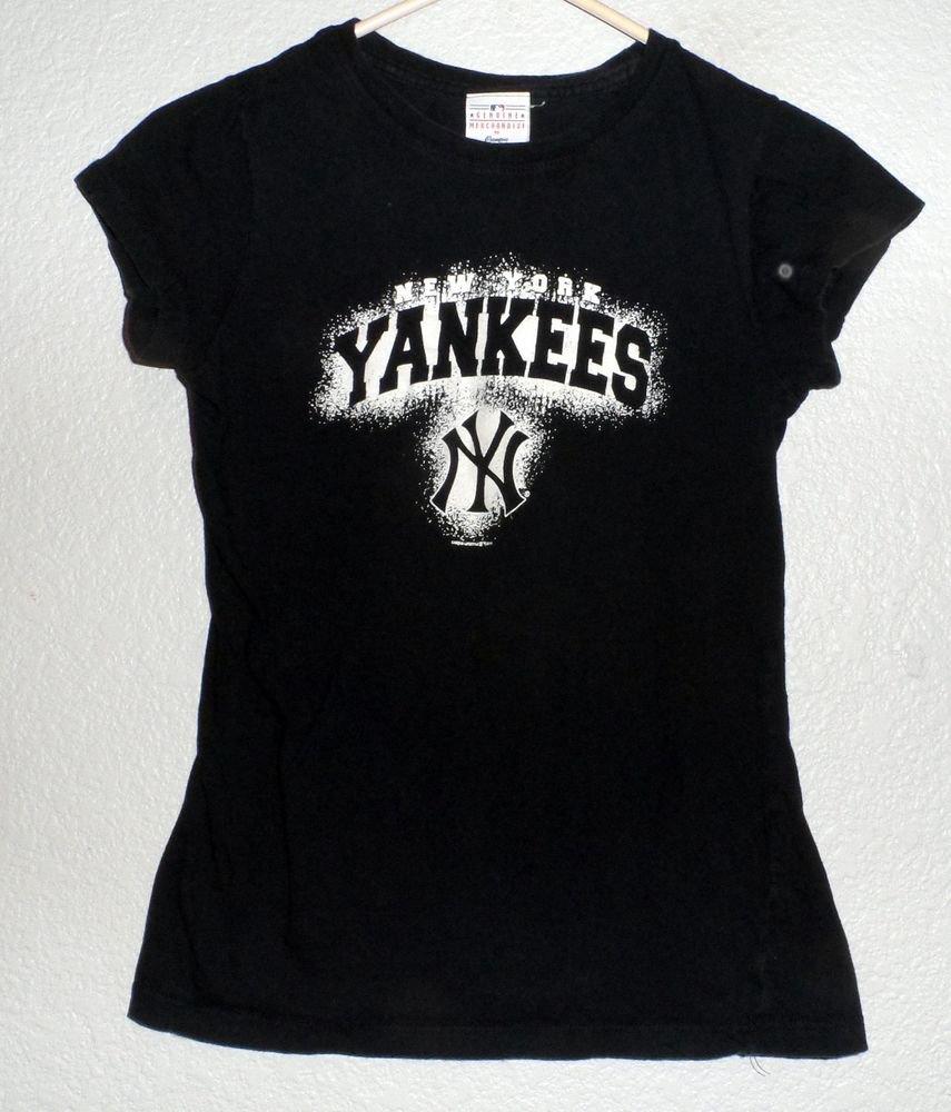 Genuine Merchandise Girl's Medium New York Yankees Black Cap Sleeve T-Shirt