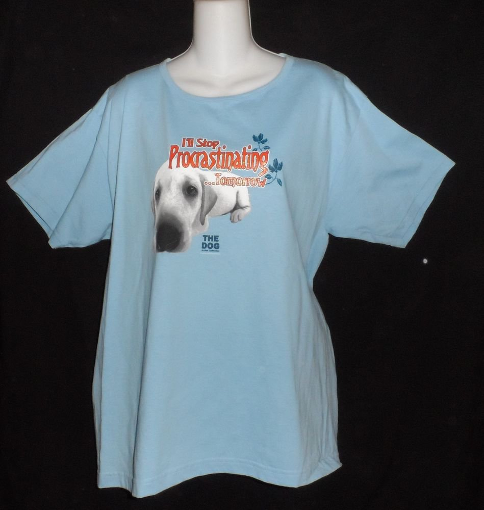 NEW t-n-t Blue The Dog Artlist Collection Large 12 14 Procrastination SS T-Shirt
