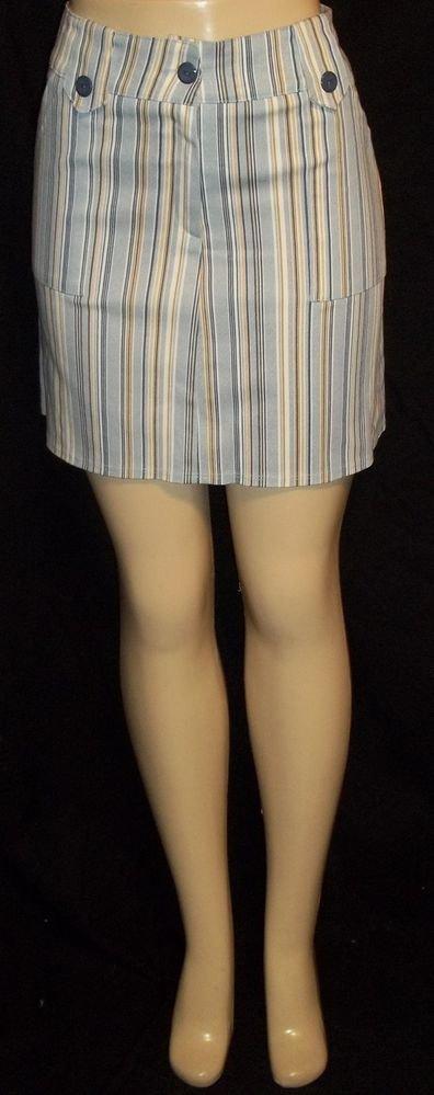 NEW Punky Girl Junior Medium 7 9 Blue Gold White Striped A-Line Mini-Skirt