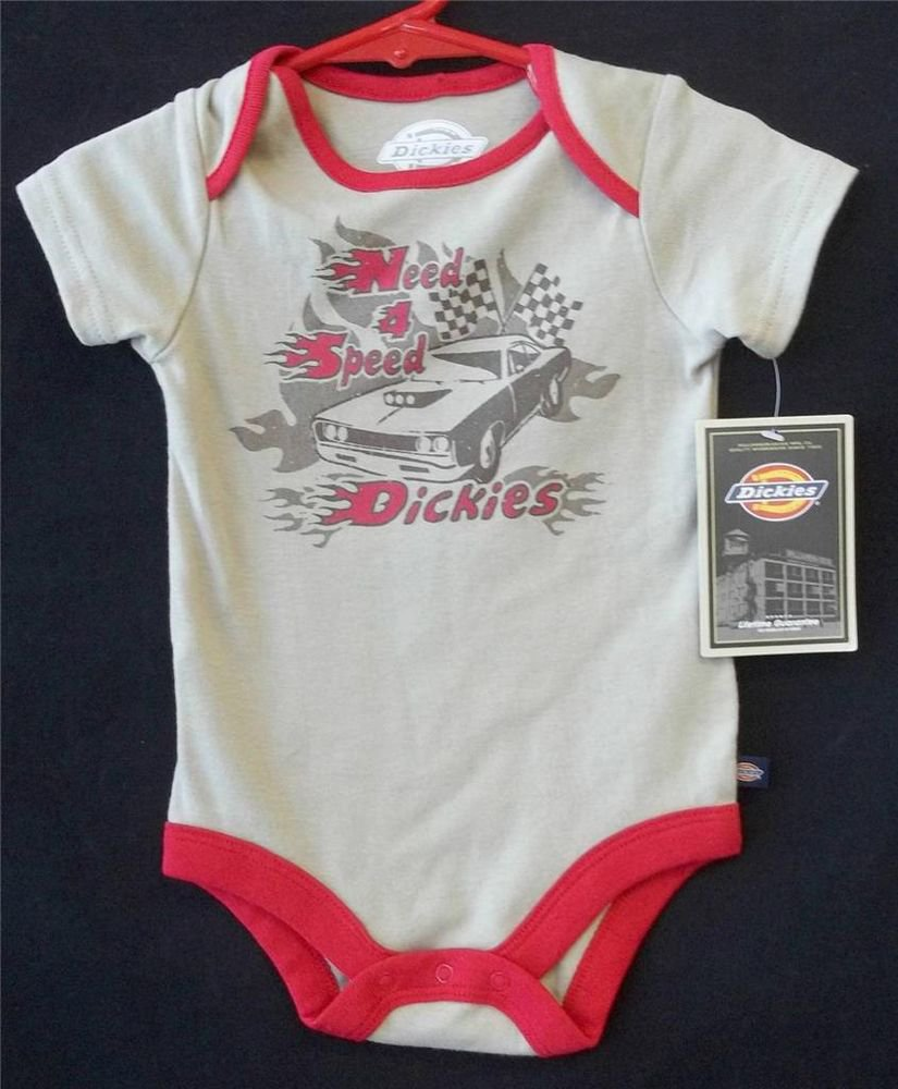 NEW 6 9 Months Dickies One Piece Tan Red Trim Hot Rod Need 4 Speed  Design