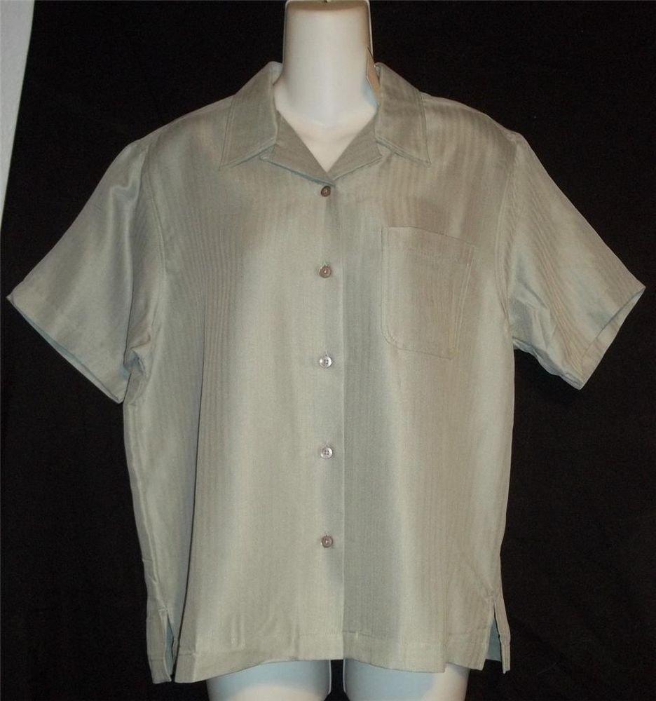NEW Dunbrooke  XS 0 2  M 8 10 Short Sleeve Shirt Button Front Blouse Sage Green