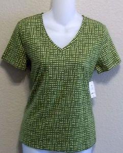 NEW liz claiborne Petite Lime Green Graphic V Neck Stretchy T Shirt PP 0P