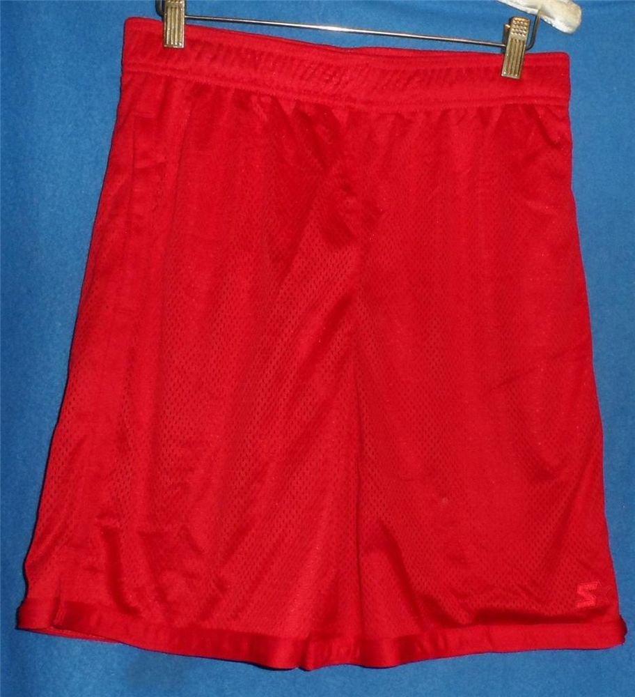 NEW Star Small 28 30 Red Elastic Waist Mesh Men's Basketball Athletic Shorts