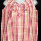 NEW Company One PM Petite Medium 8P 10P Sleeveless Top Pinks Red Yellow Plaid