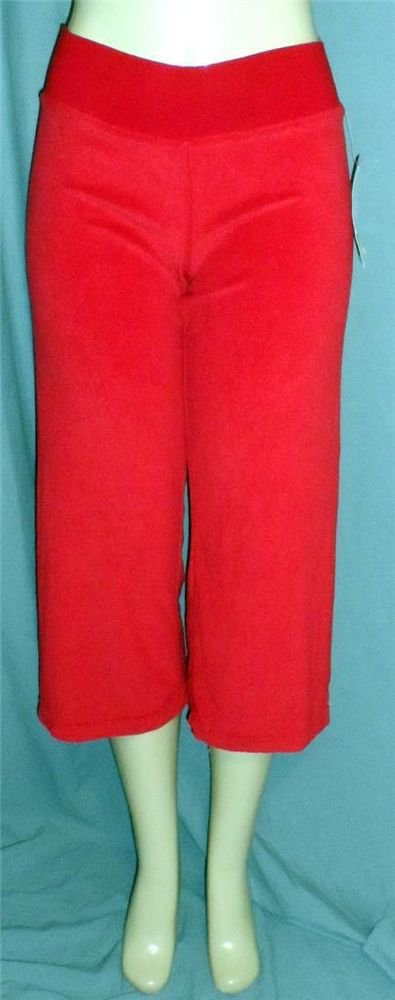 NEW Miken Mandee Medium 8 10 Red Stretch Terry Cloth Yoga Exercise Cropped Pants