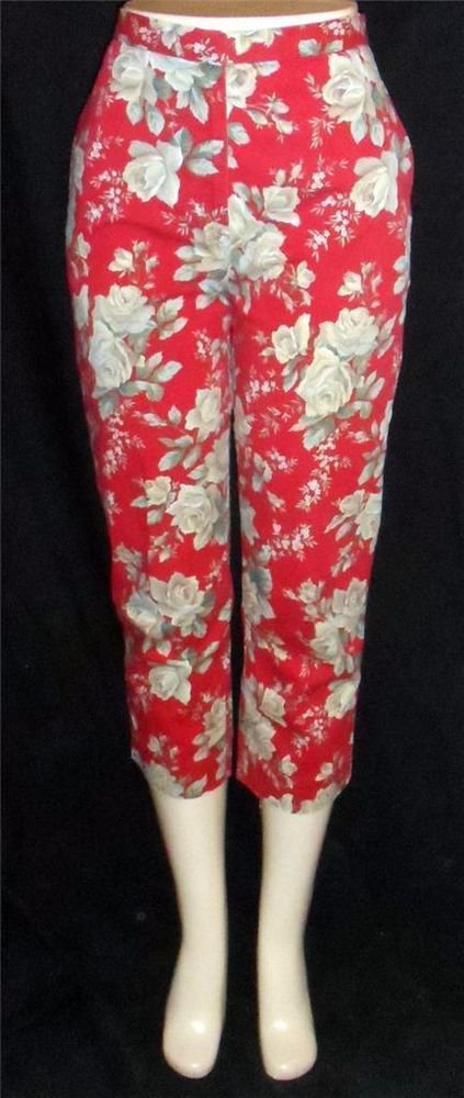 Jones New York Sport  8 Medium Brick Red Light Olive Floral Cotton Cropped Pants