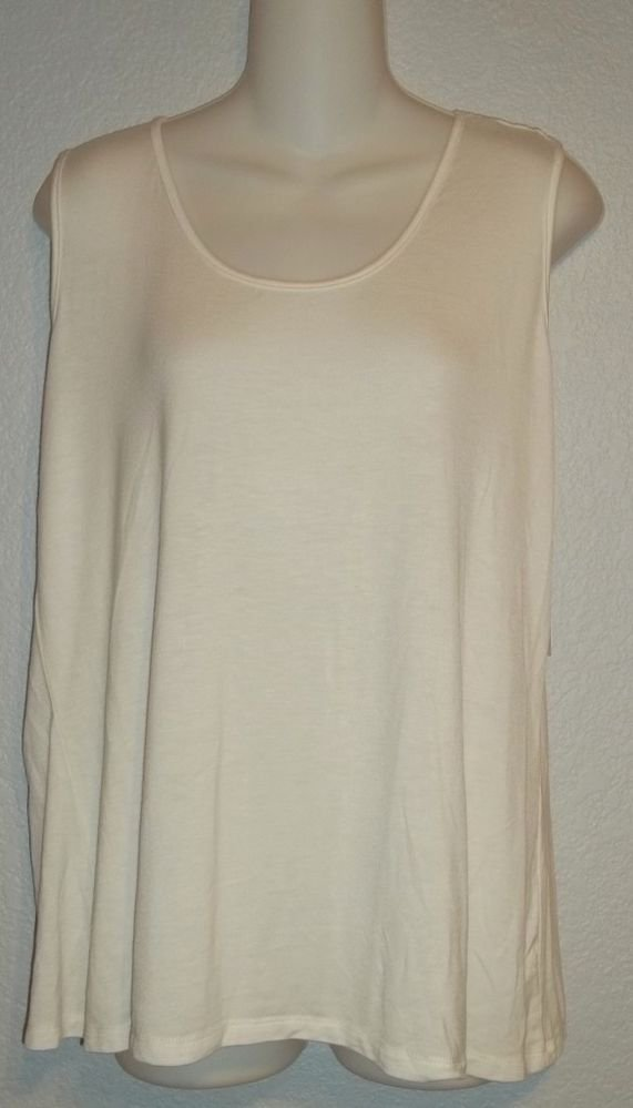 NEW Petite Large Maria Gabrielle 12P 14P PL Off White Career Tank Top Cami Shell