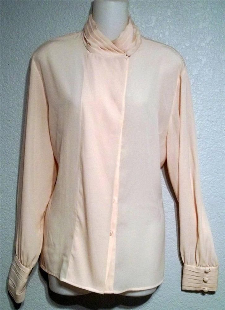 La Chine Classic 12 Large Blush Pink LS Silky Career Suit Button Down Blouse
