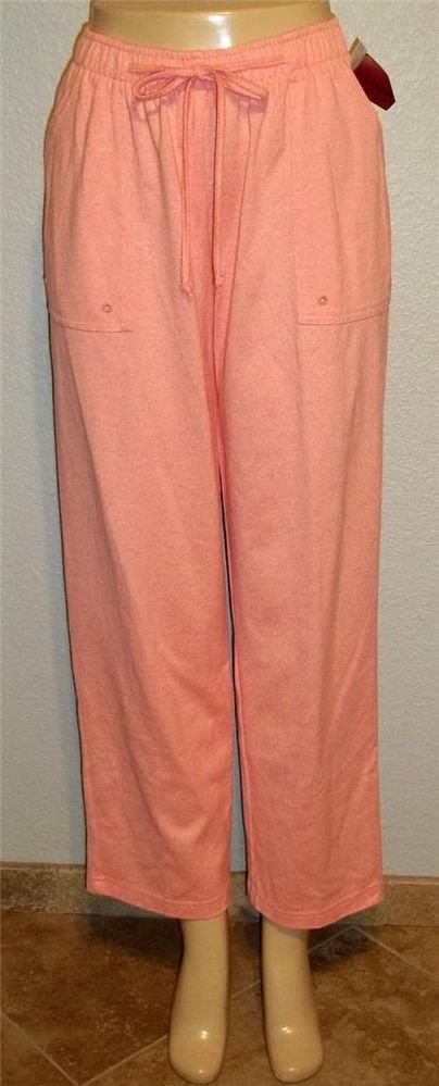 New C.D. Petites PL 12P 14P Salmon Medium Pink Elastic Cotton Blend Casual Pants