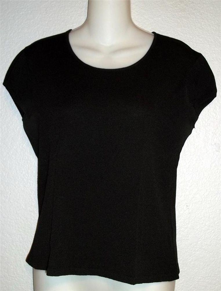 Jones New York  Medium 8 10  Black Stretchy Scoopneck Cap Sleeve Classic Top