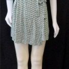 Old Navy XS 0 2 White Green Geometric Pattern V Neck Half Sleeve Wrap Dress