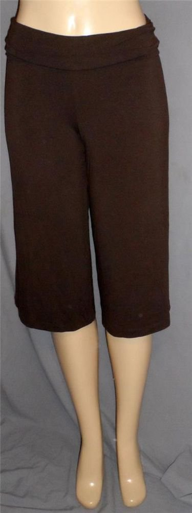 Old Navy Medium 8 10 Chocolate Brown Stretchy Yoga Exercise Cropped Pants