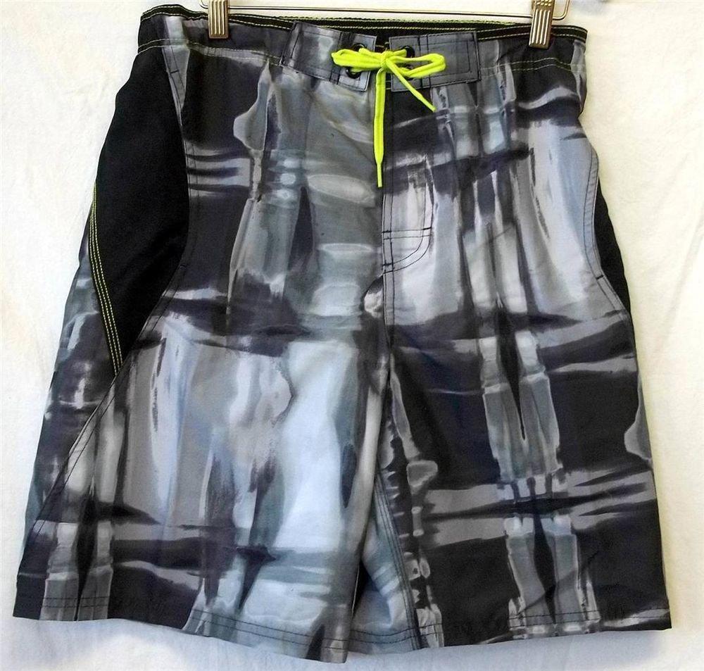 NEW Nike Mens Small Black Gray Neon Yellow Drawstring Waist Swim Trunks Shorts