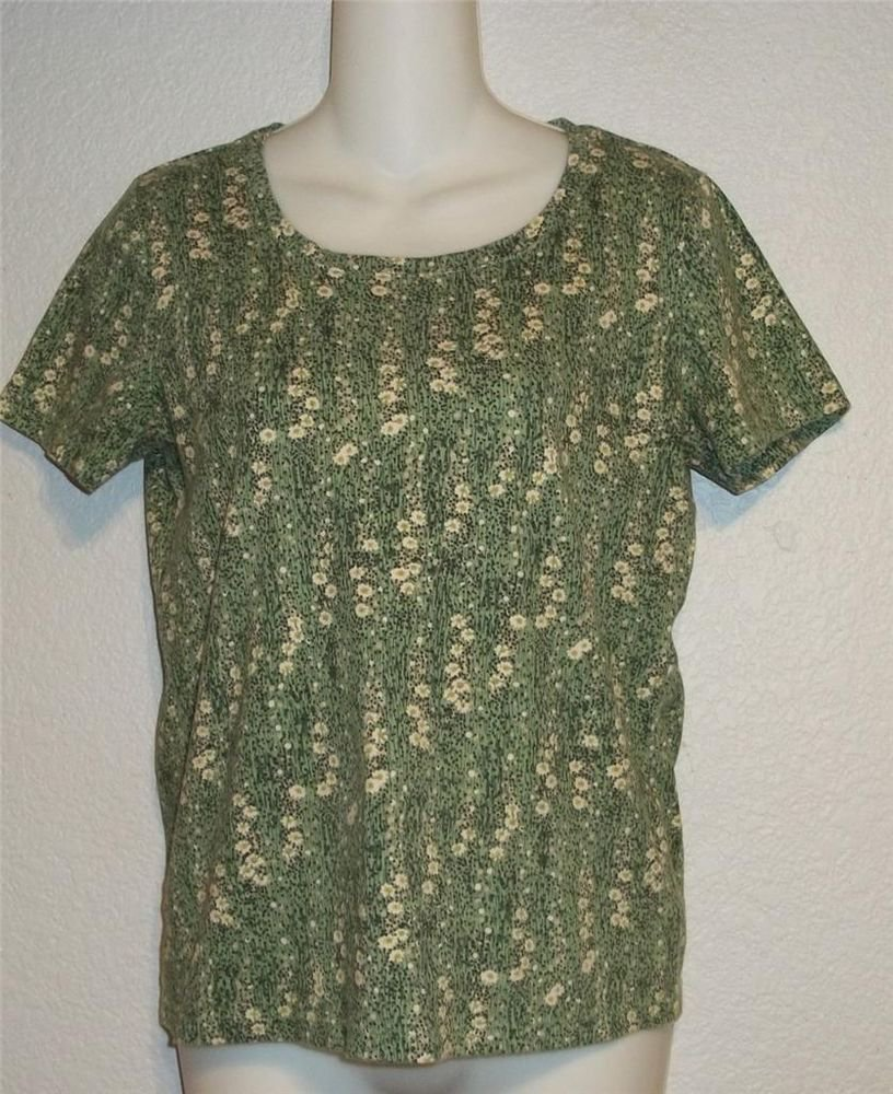 Small 4 6 White Stag Lime Green Ivory Floral SS Stretchy Cotton Tee Shirt Top