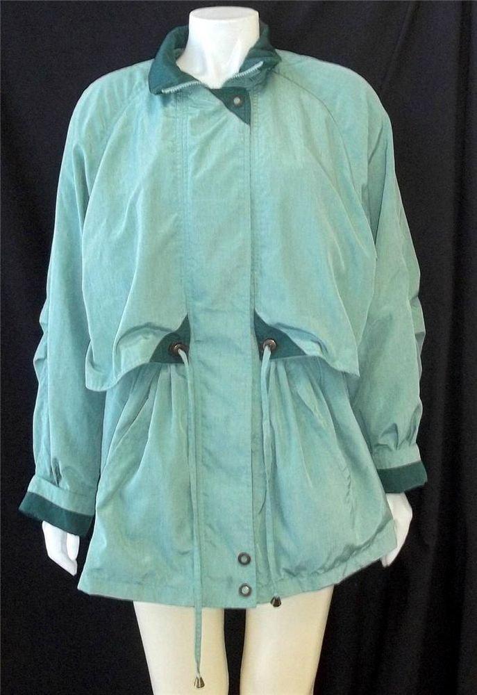 Fleet Street Large 12 14 Green Windbreaker Long Jacket Zipper Drawstring Waist