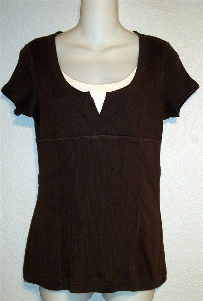 Axcess Liz Claiborne Company M 8 10 Espresso Brown Faux 2 pc Sweater Top Medium