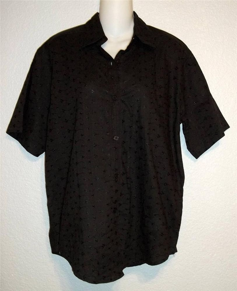 Medium 8 10 CGNY  Black Eyelet Short Sleeve 100% India Cotton Career Blouse Top