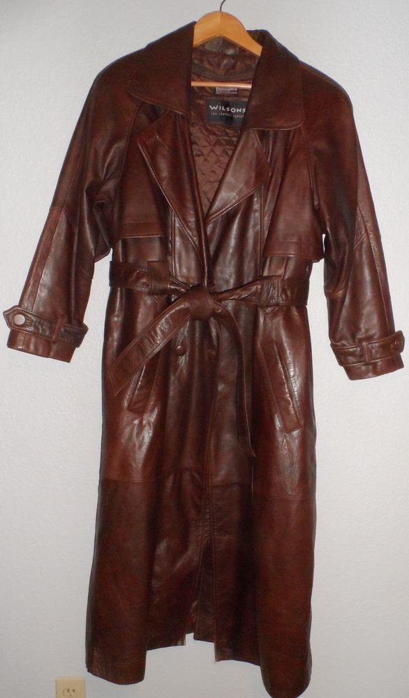 Wilsons Leather S Small 4 6 Women's Brown Fully Lined Ankle Length Trench Coat