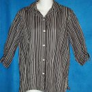 PS 4P 6P Liz Claiborne Liz Sport Petite Black White Button Down Blouse Shirt Top