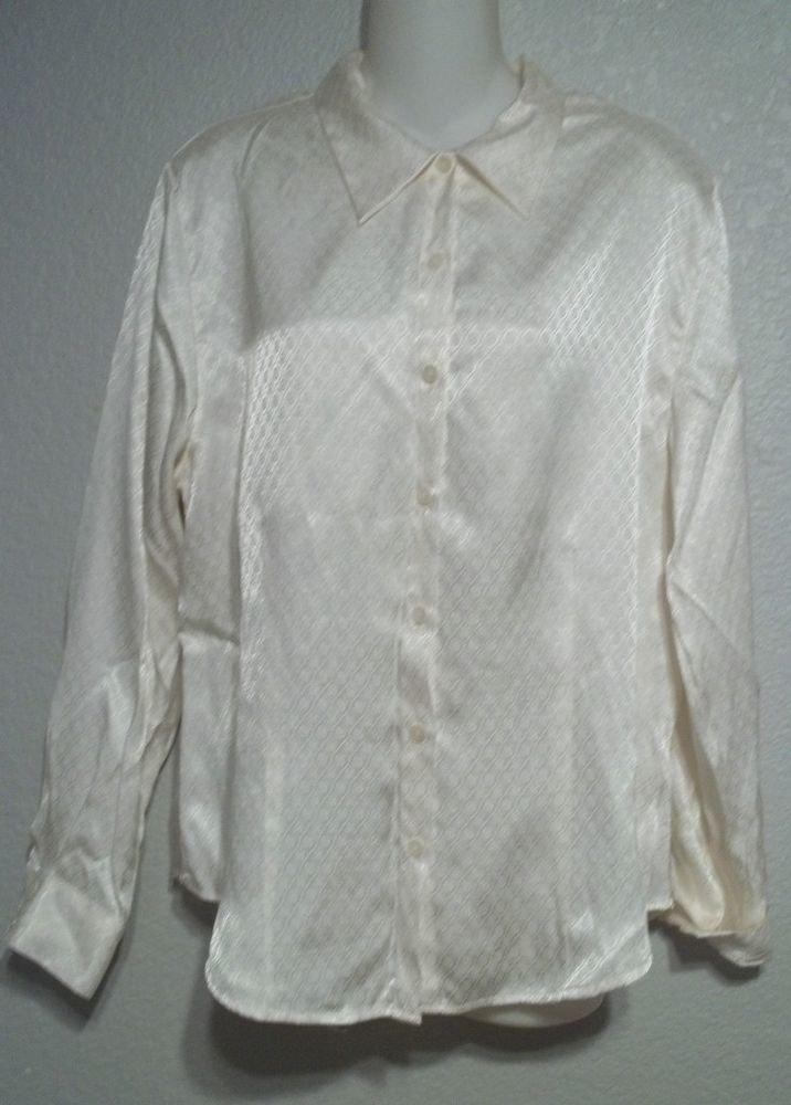 Karen Scott Large 12 14 Creamy Ivory Career Rayon Blend LS Dress Blouse
