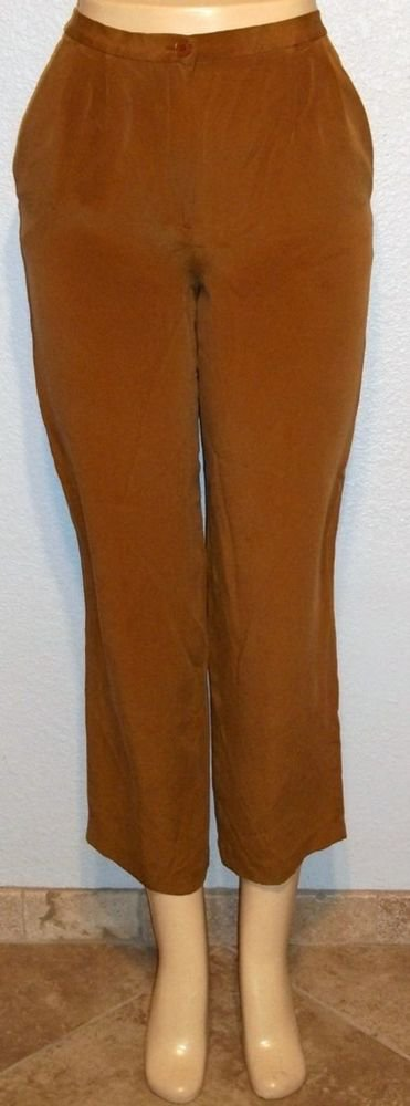 Chaus Petite Tobacco Rust  Brown 100% Silk Career Dress Pants Tagged Petite P