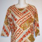 Medium 8 10 Take Two Clothing Co. Embellished Striped Floral 3/4 Sleeve Top
