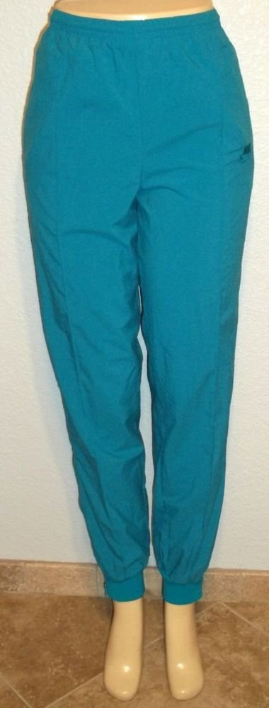 Nike Medium 8  10 Turquoise Aqua Nylon Gym Running Pants Zippered Legs Elastic