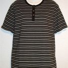 Roundtree & Yorke Casuals M Medium Men's Black White Striped Layered Knit Shirt