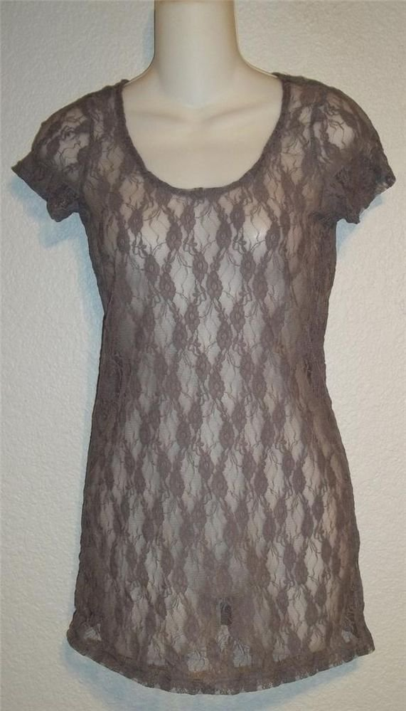 Weavers Junior Small 3 5 Gray Floral Pattern Sheer Lace Tunic Length Blouse Top