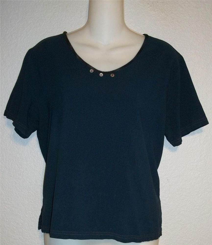Medium 8 10 Nino Wong California Dark Teal Blue Rayon Short Sleeve Blouse Top