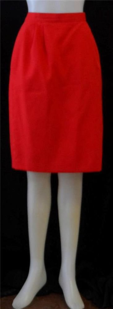 Arenzano 12 Large True Red Linen Lk Knee Length Fully Lined Career Pencil Skirt