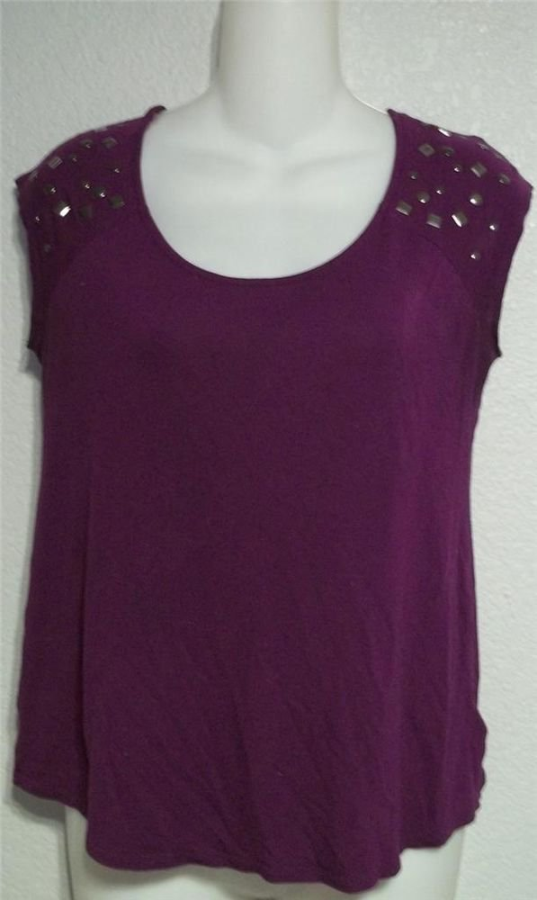 Small 4 6 Daisy Fuentes Purple Scoopneck Silver Studded Cap Sleeve Blouse Top