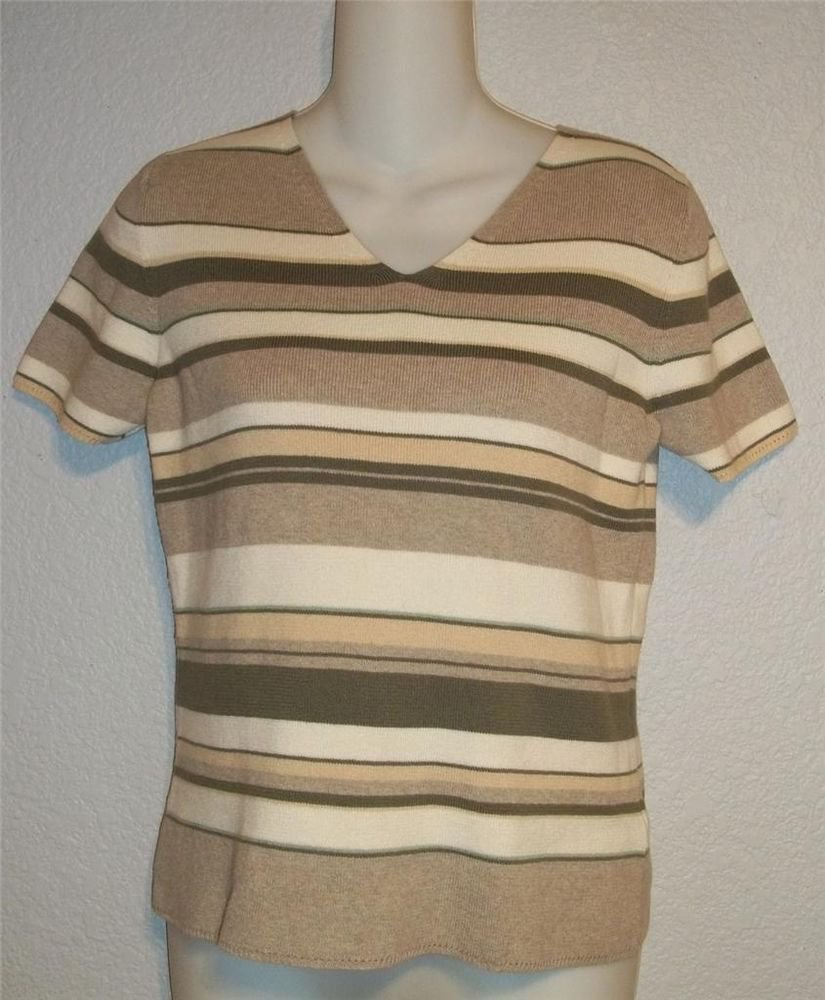 Small 4  6 JH Collectibles Olive Taupe Ivory V Neck Stretchy Cotton Blouse Top