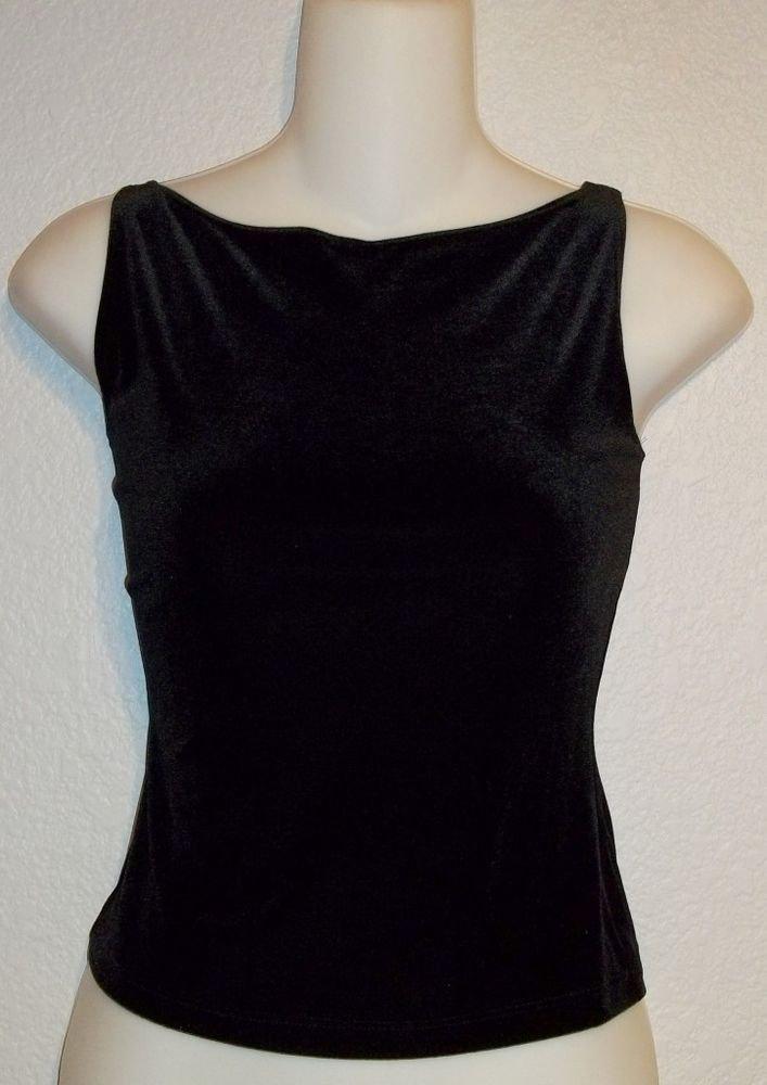 PS Per Seption Medium 8 10 Black Velvety Sleeveless Stretchy Blouse Tank Top