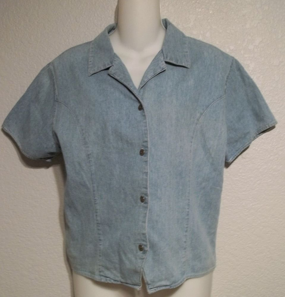 Giorgio Sant' Angelo  Large 12 14 Light Wash Chambray SS Button Down Blouse Top