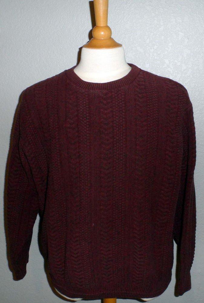Bill Blass Men's XL Extra Large Wine Cotton Blend Long Sleeve Crew Neck Sweater