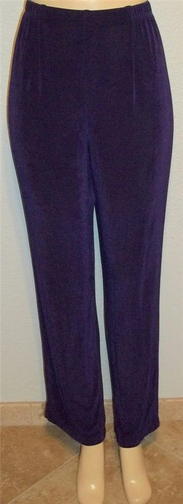 Medium 8 10 Laura Ashley Violet Purple Elastic Waist Stretchy Casual Pants