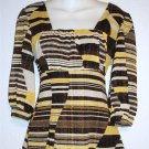 Medium 8 10 Style & Co Yellow Brown Gold Metallic 3/4 Sleeve Empire Blouse Top