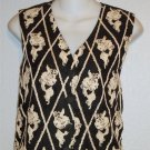 Express Small 4 6 Black Ivory Diamond Embellished V Neck Button Down Lined Vest
