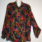 Medium 8 10 Compagnie Internationale Express 100% Silk  Floral Career Blouse