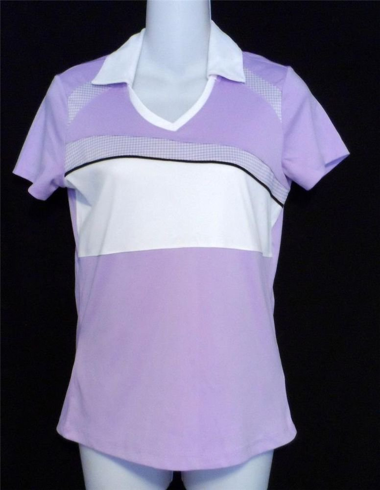 IZOD XS 0 2 Cool Fx Perform X Golf Shirt Active wear Lilac White SS Top