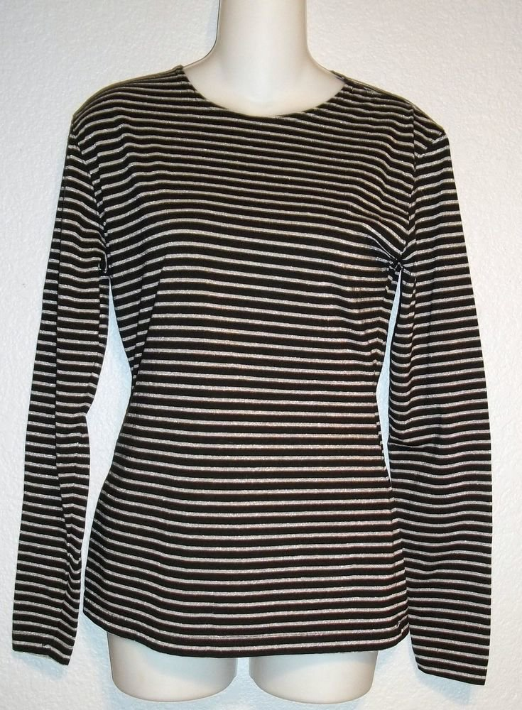 Medium 8 10 COIN Long Sleeve Black Metallic Silver Striped Stretchy Top Shirt