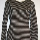 Medium 8 10 COIN Long Sleeve Black Metallic Silver Striped Stretchy Top Shirt